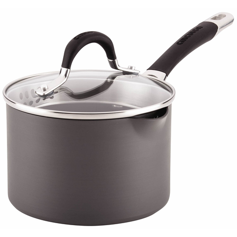 Circulon Momentum Hard-Anodized Nonstick 2-Quart Covered Straining Saucepan with Pour Spouts - Gray