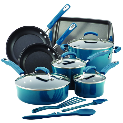 RACHAEL RAY 14-PIECE HARD ENAMEL NONSTICK COOKWARE SET - MARINE BLUE