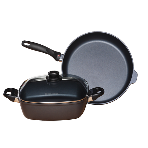 SWISS DIAMOND INDUCTION 3-PIECE SET: FRY PAN AND SQUARE CASSEROLE
