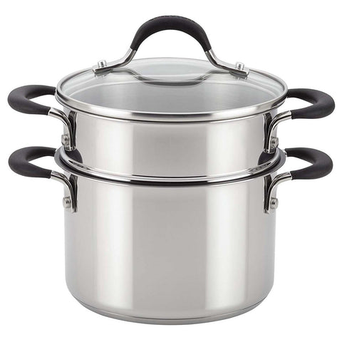 CIRCULON 3-QUART COVERED STRAINING SAUCEPOT WITH STEAMER INSERT