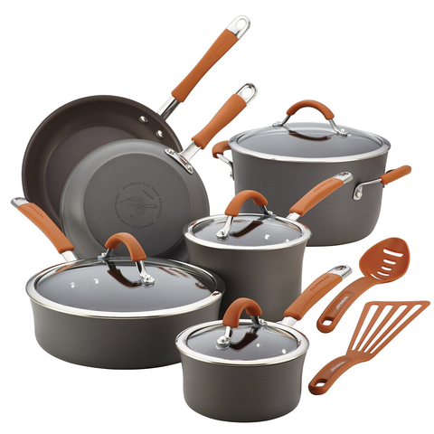 RACHAEL RAY CUCINA HARD-ANODIZED 12-PIECE COOKWARE SET - PUMPKIN ORANGE