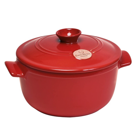 Emile Henry Flame Top Round Dutch Oven / Stewpot, 4.2qt, Burgundy