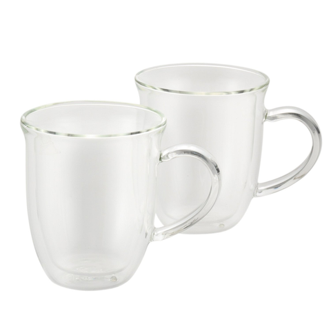 BONJOUR 2-PIECE INCSULATED GLASS CAPPUCCINO CUP SET, 8-OUNCE ESCH - CLEAR