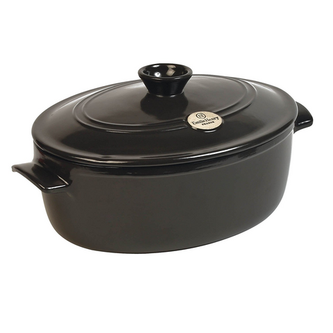Emile Henry Flame Oval Stewpot Dutch Oven,6.3 QT.,  Charcoal