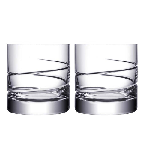 ORREFORS SWERVE DOUBLE OLD FASHIONED GLASS PAIR