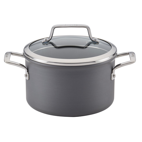 ANOLON AUTHORITY HARD ANODIZED 4-QUART COVERED SAUCEPOT- GRAY