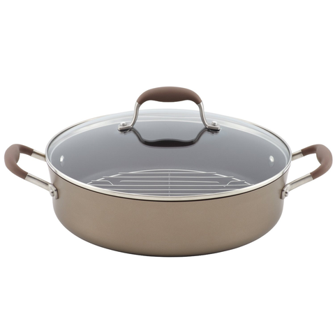 ANOLON 5.5-QUART COVERED BRAISER WITH RACK - BRONZE
