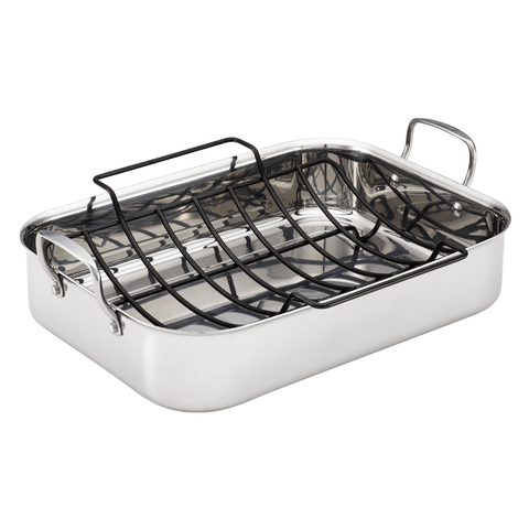 Anolon Tri-Ply Clad Stainless Steel 17-Inch Rectangular Roaster