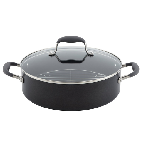 ANOLON 5.5-QUART COVERED DUTCH OVEN WITH RACK - GRAY