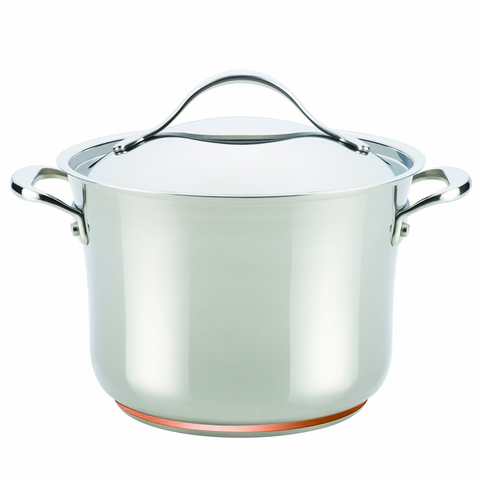 Anolon Nouvelle Copper Stainless Steel 6-1/2-Quart Covered Stockpot