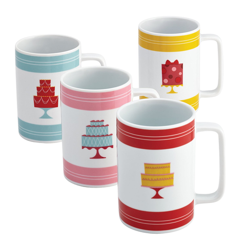 "Cake Boss 4-Piece Retro ""Cakes"" Mug Set"