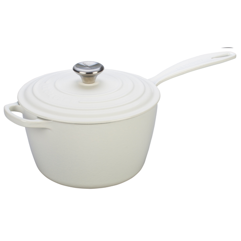 Le Creuset Signature Cast Iron Saucepan, 1-3/4-Quart, White