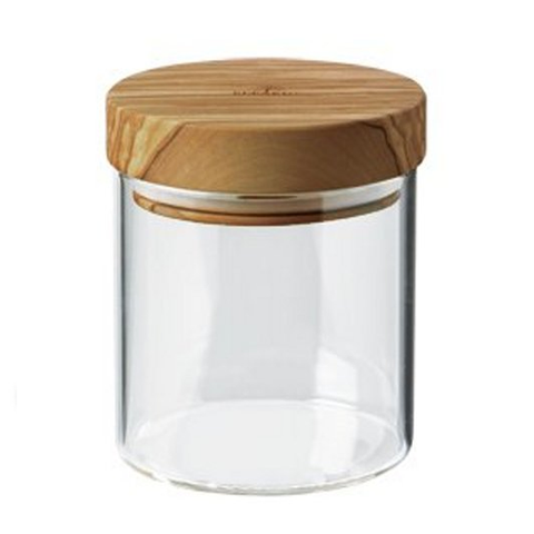 BERARD 13.5-OUNCE GLASS STORAGE JAR WITH OLIVE WOOD LID