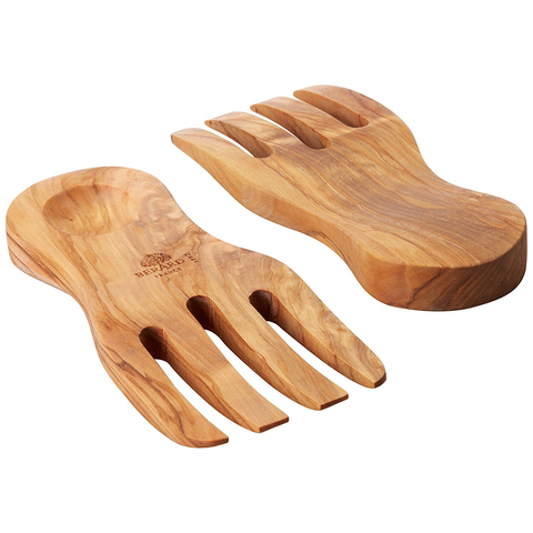 BERARD OLIVE-WOOD HANDCRAFTED CURVED SALAD SERVERS
