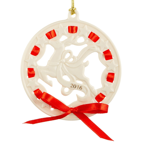 LENOX 2016 CHRISTMAS WRAPPINGS REINDEER ORNAMENT