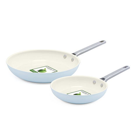 Green Pan Padova Ceramic Non-Stick Open 2-Piece Frypan Set - Light Blue