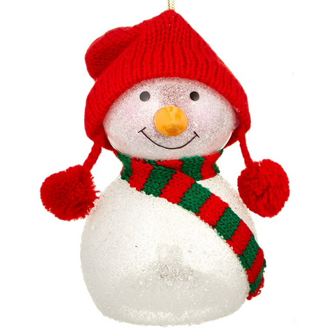 Lenox Wonder Ball Snowman Red Knit Hat