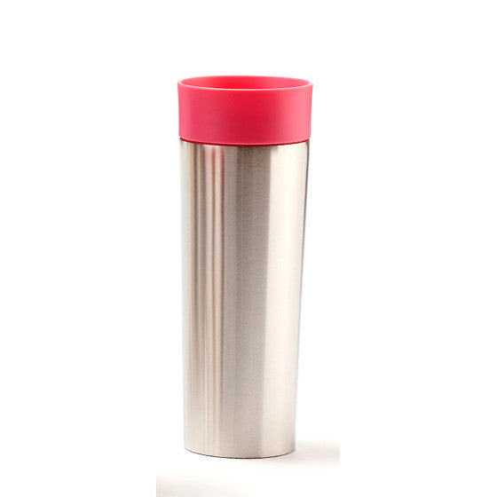 Pink Stainless Steel Travel Mug with Infuser - forteassake