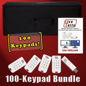 Live-Tally Voting System with 100 Keypads
