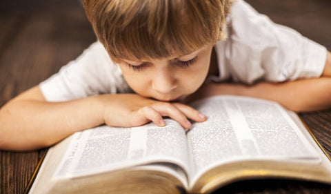 little boy reading bible