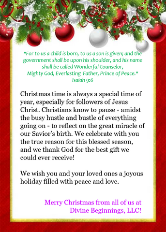 Christmas greetings from Divine Beginnings, LLC