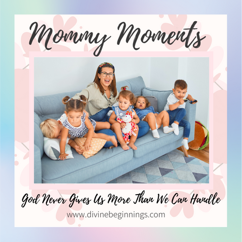 Mom sitting on couch with five kids - smiling