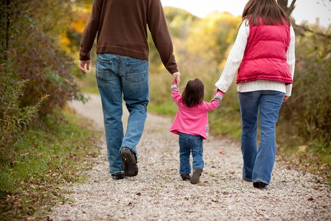 Dad,mom and little girl walking