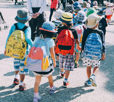 children walking with backpacks