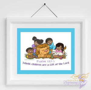 Behold Children Are A Gift - Christian Inspired Artwork (Black Children) Blue Border