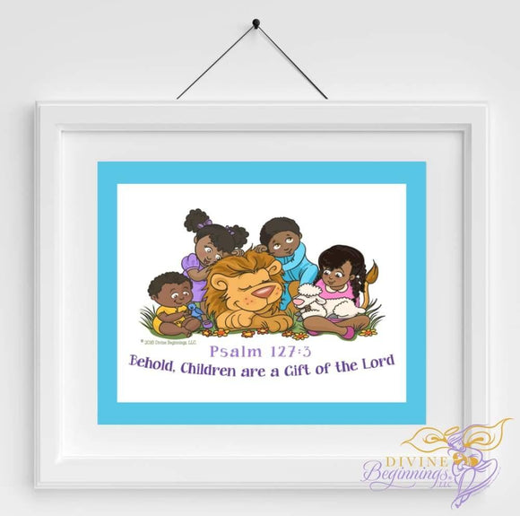 Christian Artwork - Behold, Children are a Gift - Blue - Black Children - Divine Beginnings, LLC