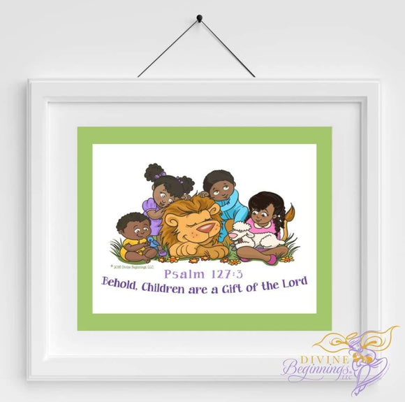 Behold Children Are A Gift - Christian Inspired Artwork (Black Children) Green Border