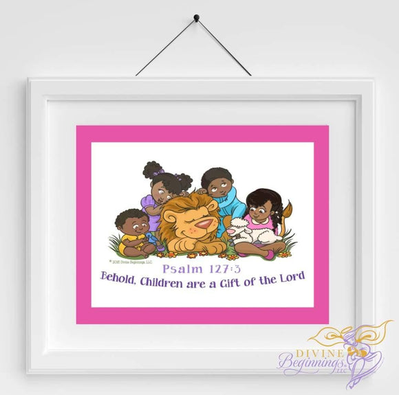 Behold Children Are A Gift - Christian Inspired Artwork (Black Children) Pink Border
