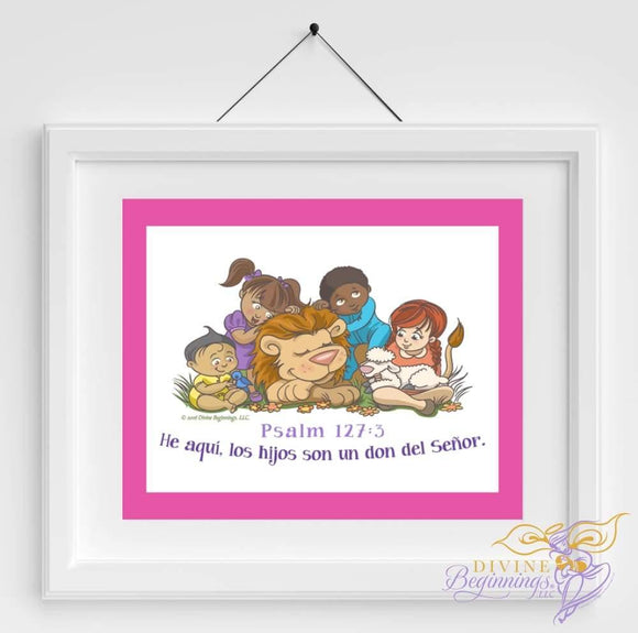 Behold Children Are A Gift - Christian Inspired Artwork (En Español Mixed Children) Pink Border