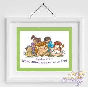 Christian Artwork - Behold, Children are a Gift - Green - Diverse Children - Divine Beginnings, LLC