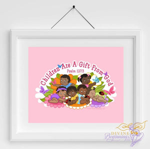 Children are a Gift From God (Mixed Children) Aqua Background - Divine Beginnings, LLC