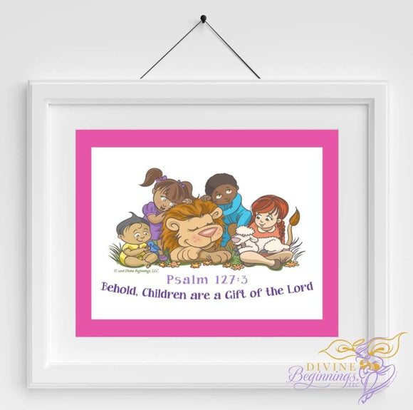 Christian Artwork - Behold, Children are a Gift - Pink - Diverse Children - Divine Beginnings, LLC