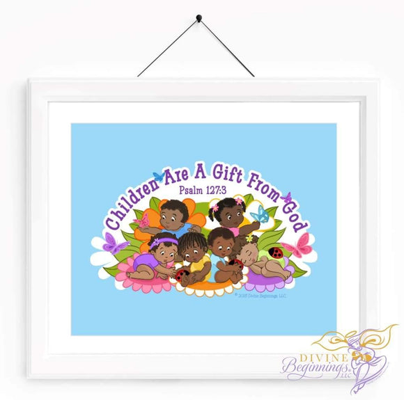 Christian Artwork - Children are a Gift From God - Blue - Black Children - Divine Beginnings, LLC
