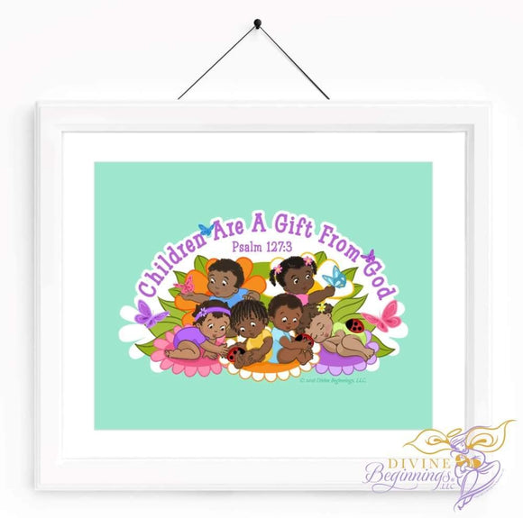 Christian Artwork - Children are a Gift From God - Green - Black Children - Divine Beginnings, LLC