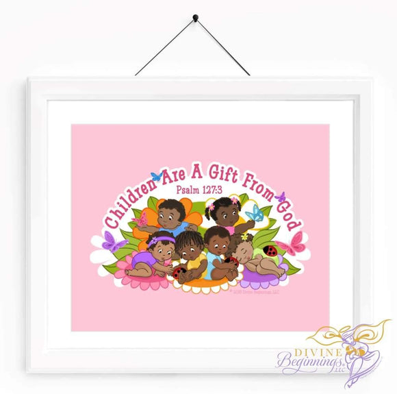 Christian Artwork - Children are a Gift From God - Pink - Black Children - Divine Beginnings, LLC