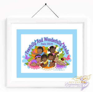 Christian Artwork - Fearfully and Wonderfully Made Artwork - Blue - Black Children - Divine Beginnings, LLC