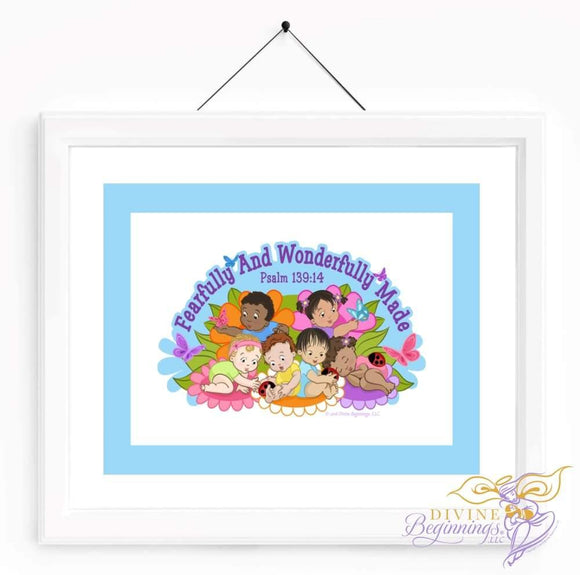 Christian Artwork - Fearfully and Wonderfully Made Artwork - Blue - Diverse Children - Divine Beginnings, LLC