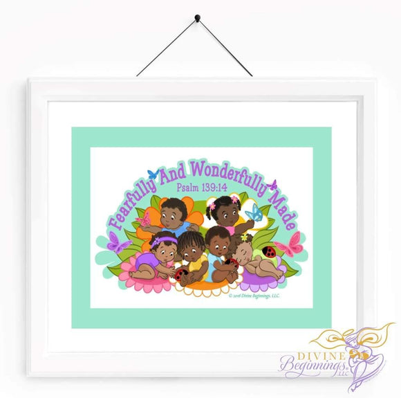 Christian Artwork - Fearfully and Wonderfully Made Artwork - Green - Black Children - Divine Beginnings, LLC