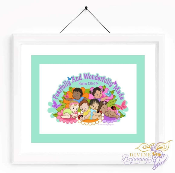 Christian Artwork - Fearfully and Wonderfully Made Artwork - Green - Diverse Children - Divine Beginnings, LLC