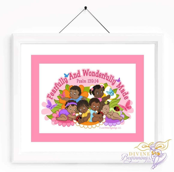 Christian Artwork - Fearfully and Wonderfully Made Artwork - Pink - Black Children - Divine Beginnings, LLC