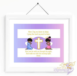 Christian Artwork - Now I Lay Me Down To Sleep - Black Children - Design 1 - Divine Beginnings, LLC