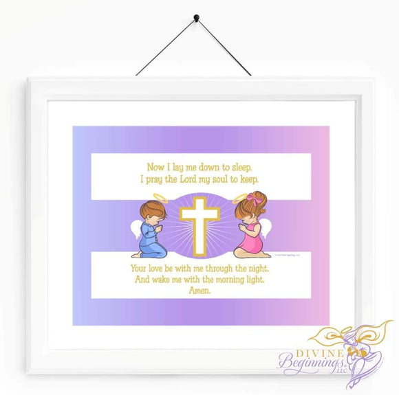 Christian Artwork - Now I Lay Me Down To Sleep - Redhead Children - Divine Beginnings, LLC