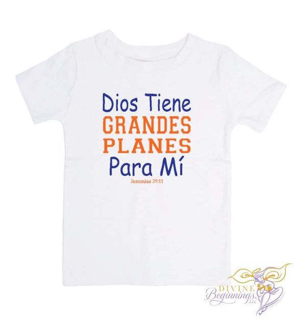Dios Tiene Grandes Plans Para Mi - short-sleeve blue and orange toddler t-shirt - Spanish