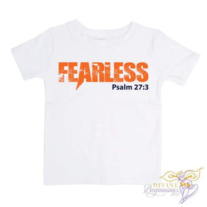 Boy in short-sleeve white t-shirt with the word FEARLESS in orange and scripture Psalm 23.