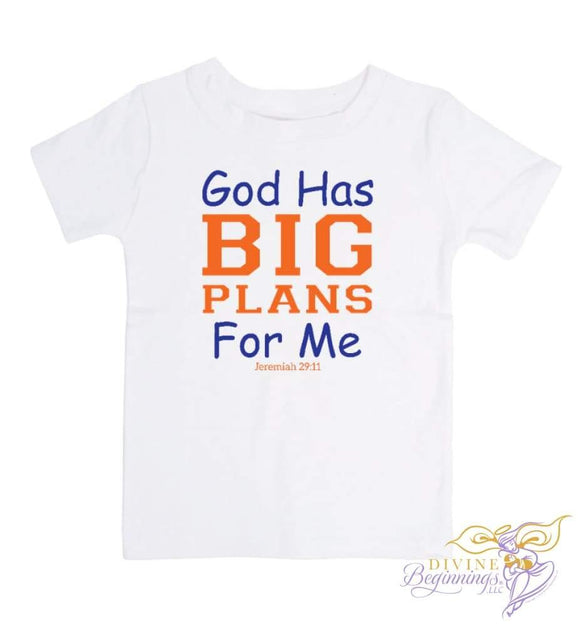 God Has Big Plans For Me - short-sleeve blue and orange t-shirt - English