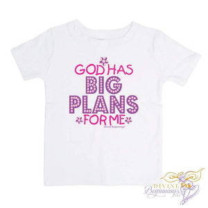 God Has Big Plans For Me - Girls Short-Sleeve Toddler T-Shirt (English) in pink and purple